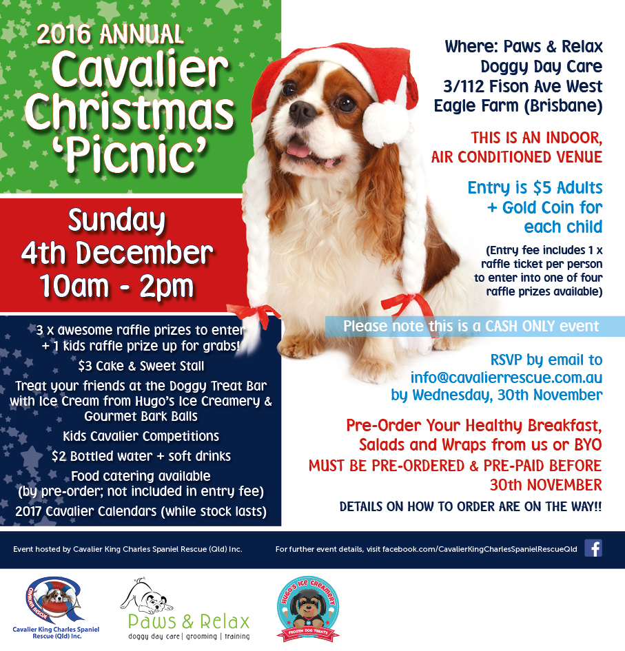 2016 Annual Cavalier Rescue Qld Christmas Picnic