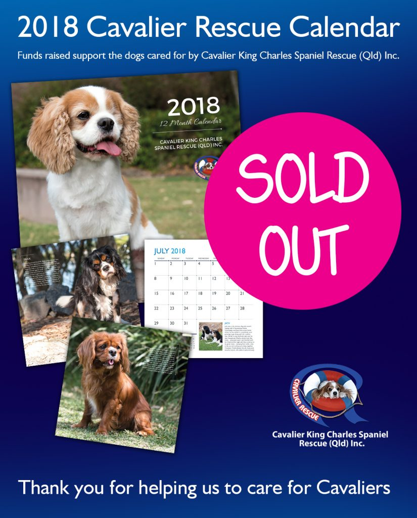 Cavalier Rescue calendar sold out 2018